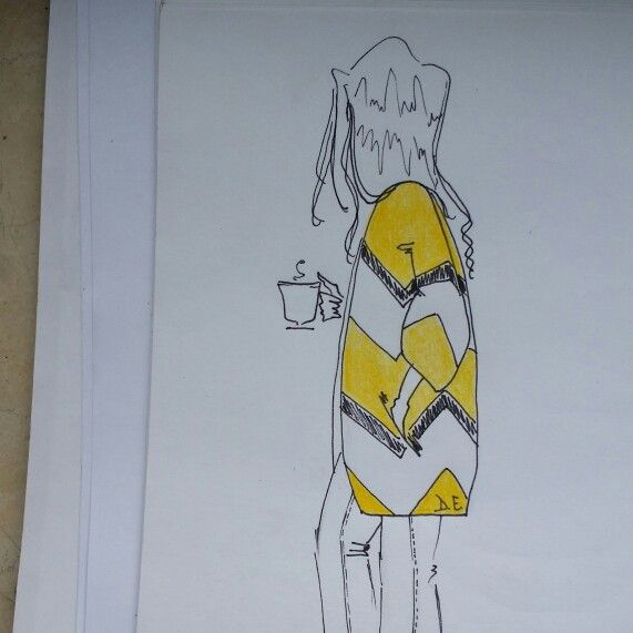 #goodmorning #coffee #illustration #fashion #outfit #fur #yellow