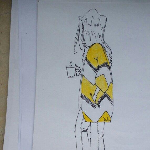 #goodmorning #coffee #illustration #fashion #outfit #fur #yellow