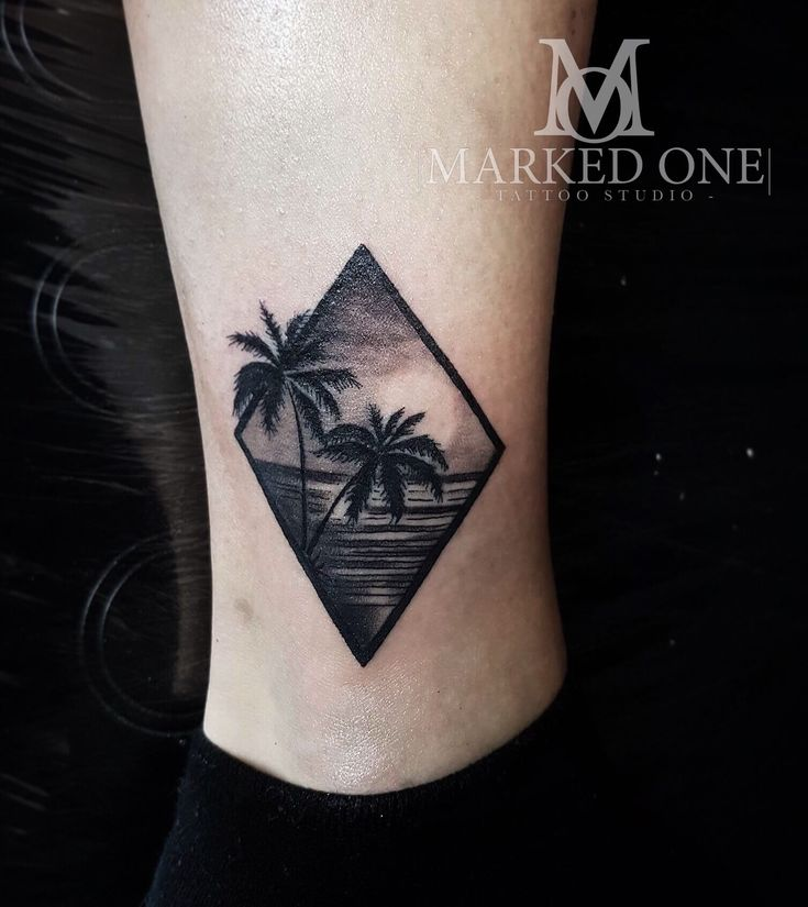 Tropical scene tattoo, mini scenery tattoo. Girly ankle tattoo.