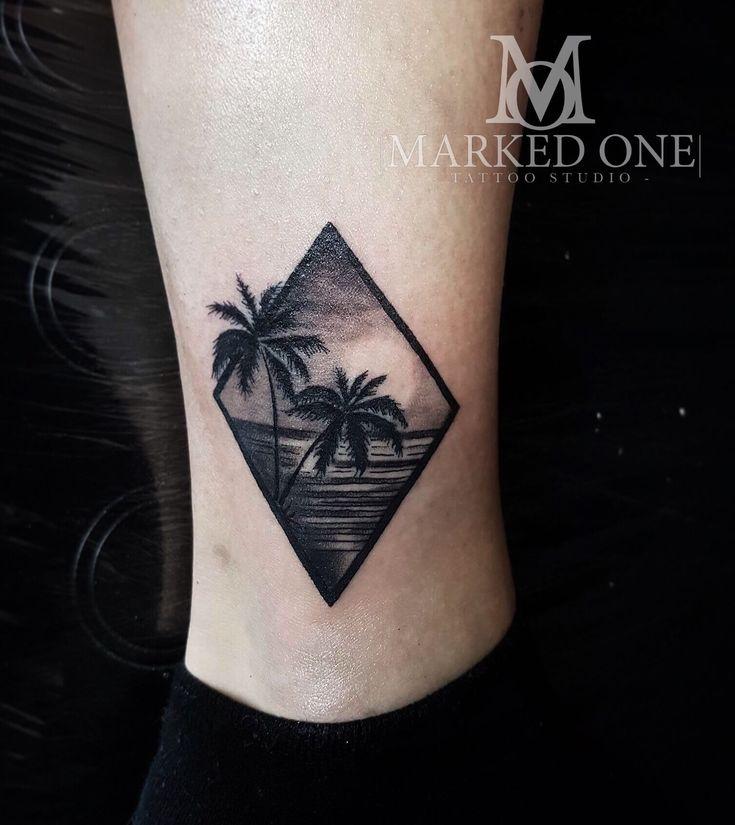 Tropical scene tattoo, mini scenery tattoo. Girly ankle tattoo.