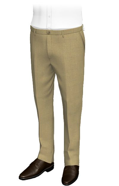 Delon Beige slim fit pants, wool and terylene. These tailored pants with light colored buttons on the back and front part, have a fine and smart style. Their smooth fabric is inspired by the desert sand. The result is a pair of classic pants with an elegant design, ideal for formal situations.