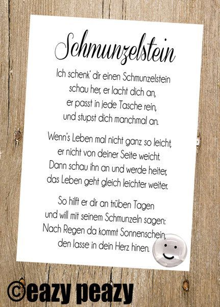 Glückssteine - ★ SCHMUNZELstein ★ Postkarte mit Glasnugget - ein Designerstück von eazy-peazy bei DaWanda