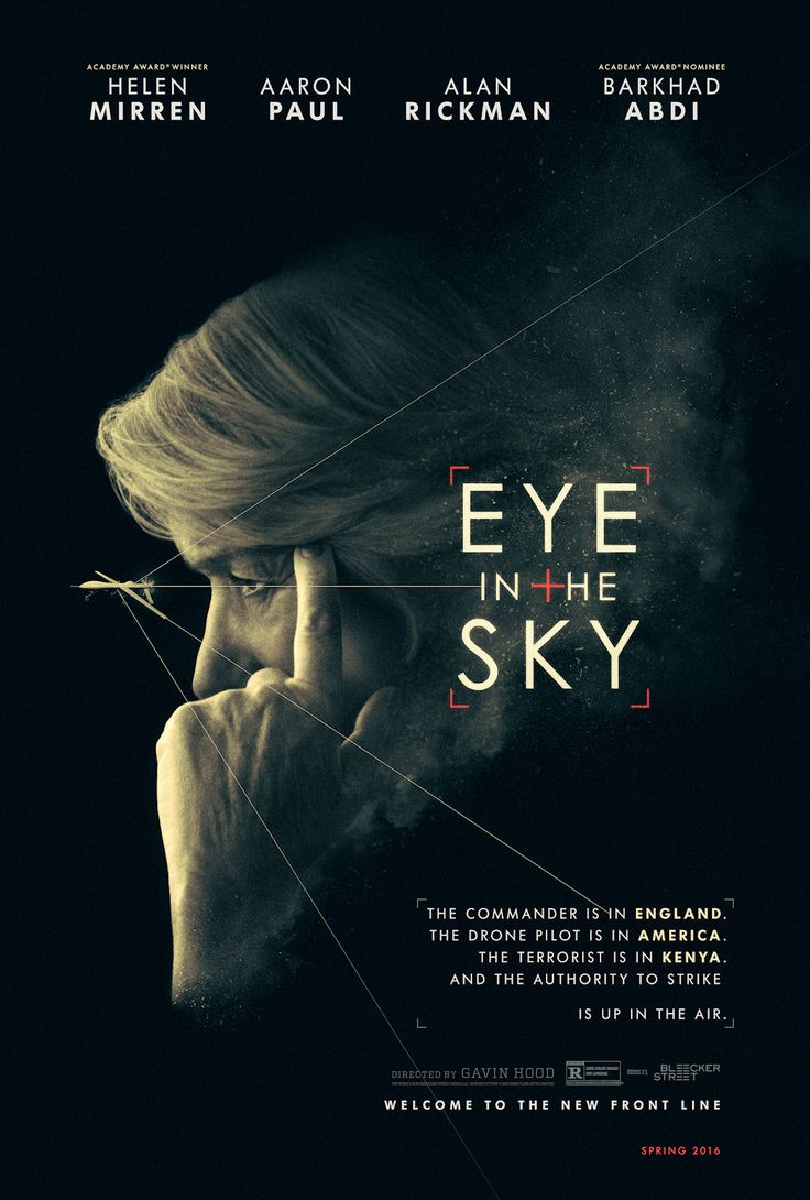 EYE IN THE SKY movie poster.  Wonderful but harrowing story and wonderful acting.