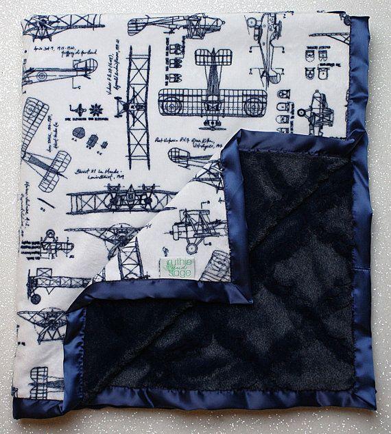 Baby Minky Aviator Blanket Airplane Blanket by RuthieandSage