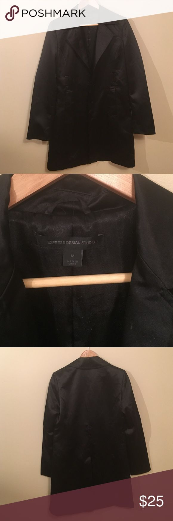Black satin dressy jacket Long black satin dressy jacket. Missing belt. Great condition. First pic for styling. Similar look and fit Express Jackets & Coats Trench Coats