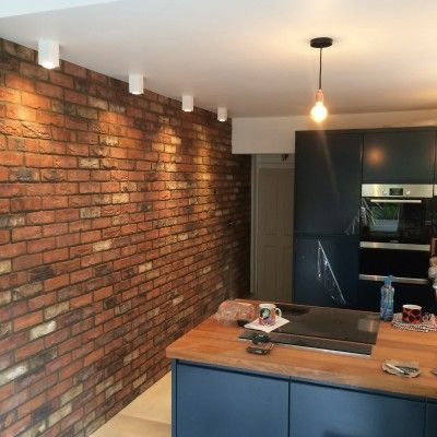 Our Birkdale Blend brick slips, an installation we completed. Brick tiles. Real brick! www.brickslips.net