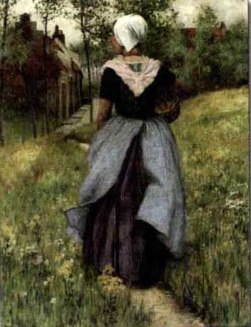Brittany girl on a flowered pathway by George Hitchcock