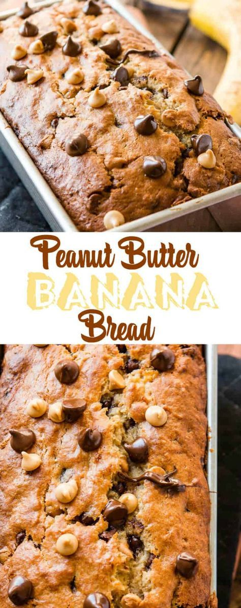 This peanut butter banana bread filled with little…
