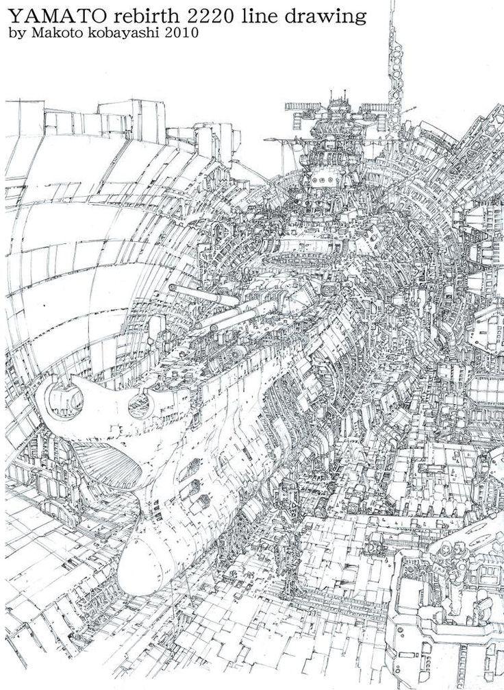 """kashieda-like: """"小林誠 2220さんはTwitterを使っています: """"描かない人には関係ないかもだが、ヤマト復活篇のパッケージ絵の線画。シャーペンで1週間の作業。2010年 """" """""""