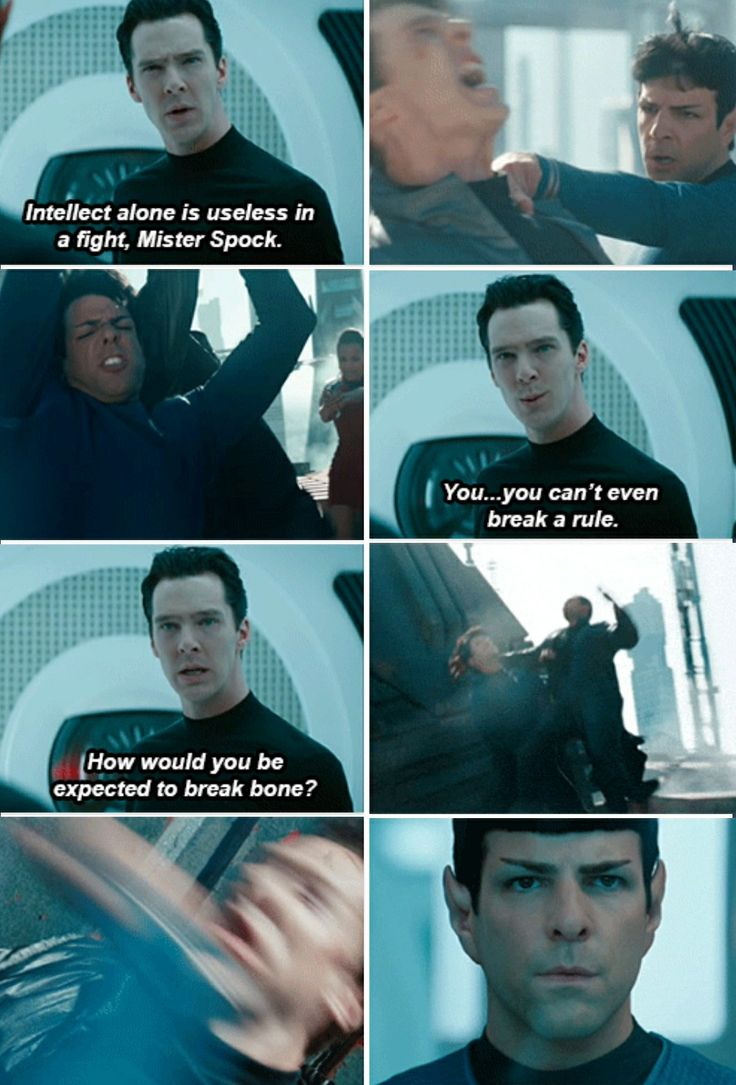Star Trek. This scene is so awesome, not just because we know Spock will eventually kick Khan's ass, but because of Khan's arrogance that he's so much better at everything.