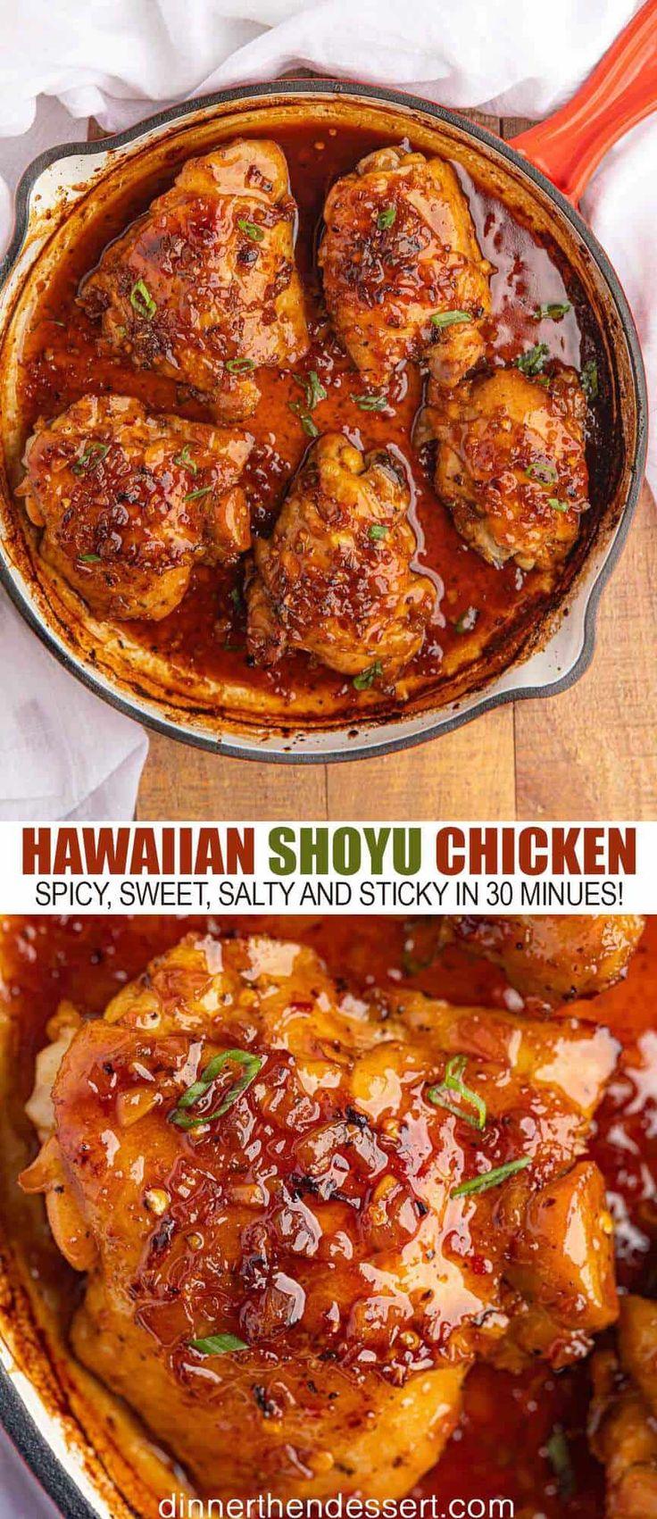 Hawaiian Shoyu Chicken is an easy chicken dish you'd get at a Hawaiian BBQ resta…