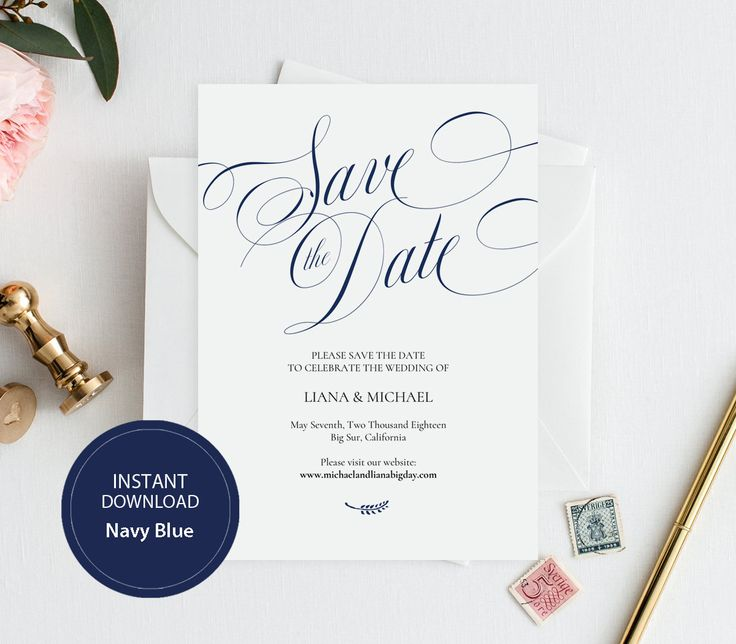 Editable PDF Template 5x7 Save the Date INSTANT DOWNLOAD Wedding Save the date calligraphy save the date Cards Printable Navy Blue #DP220_30 by DreamPrintable on Etsy #wedding #instant #download #printable #image #graphic #digital #reception_sign #PDF #Template #wedding_ceremony #wedding_sign #Calligraphy #Sign #events #events_design #wedding_printable #wedding_design