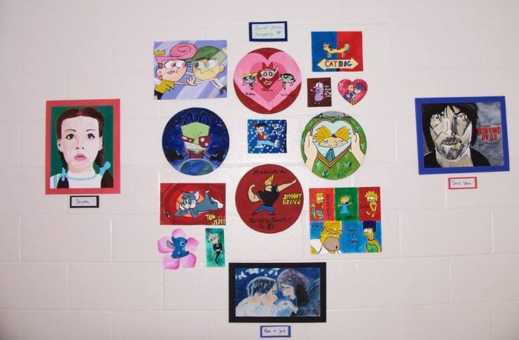 Paintings I put in the art show 2016 at school. Includes Dorothy (Wizard of Oz), Daryl Dixon (The Walking dead), Cosmo and Wanda (The Fairly OddParents), The Powerpuff girls, Catdog, Invader Zim, Chip Skylark (The Fairly OddParents), Hey Arnold, Tom and Jerry, Johnny Bravo, The Simpsons, Stitch (Lilo and Stitch), Danny Phantom, and an oil pastel drawing of Rose and Jack from Titanic.