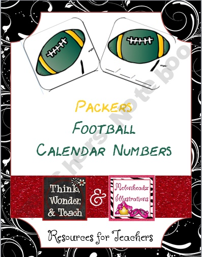 Packers Football Calendar Numbers (other NFL teams available as well)