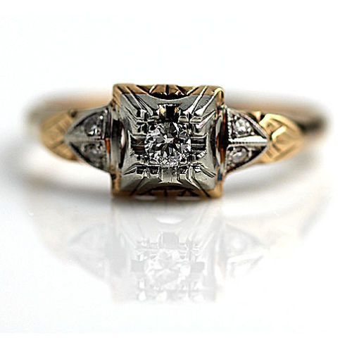 Antique 14 Kt Two Tone Old European Cut Diamond Engagement Ring Circa Early 1900 Ebay