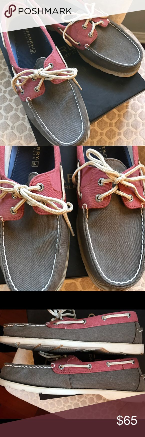 Sperry Top Sider Men's Boat Shoes Excellent used Men's boat shoes. Only used a few times. Color is a red and grayish/army green color. No stains, tears or visible flaws. Soles are still in great condition. Purchased from Nordstroms. Sperry Top-Sider Shoes Boat Shoes
