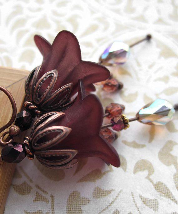 Orecchini fiore di ciliegio orecchini fiore Bordeaux di ShySiren