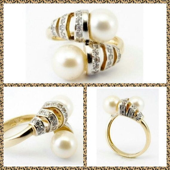 Pearls and Diamonds 9K Gold Engagement/Dress Ring, Bridal Ring, June Birthstone, 0.40 Carat G Colour Diamonds, High Lustre Ivory Pearls