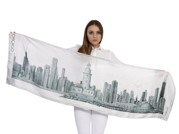 CHICAGO COLLECTION Pencil Illustration Silk Twill Large Stole Gray | Alesia C. | www.AlesiaC.com | Timeless Accessories and Gifts | luxury collection | Wonderful Chicago souvenir | perfect Chicago gift for any one