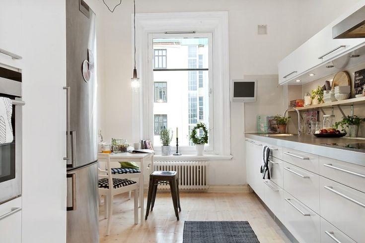 white cabinet, steel table tops and really nice birch veneer floor