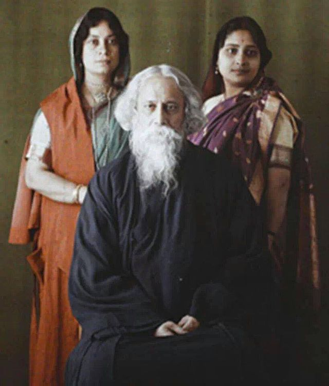 "A rare color photo of Gurudev Rabindranath Tagore - with daughter Bela to his left and daughter-in-law Pratima to his right. This photograph was taken by Albert KAHN in 1921. The history of this picture is mentioned in this article, photographed by ""Albert Kahn, a French banker, an avid traveller, a humanist and a philanthropist. Kahn also employed two well known lensmen of his time, Stephane Passet and Auguste Leon to travel to India and document its people, culture, architecture and…"