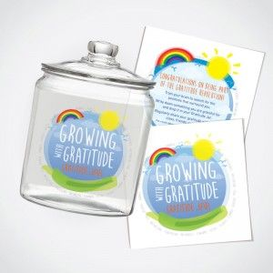 Gratitude Jar Sticker Labels (Front & Back). Drop it in the Jar: write something you are grateful for on a piece of paper and drop it in the Gratitude Jar. Keep it in a place where it is visible. For a boost of happiness dip your hand in the jar and reflect on something you are grateful for. To create brightness use coloured paper to write on.