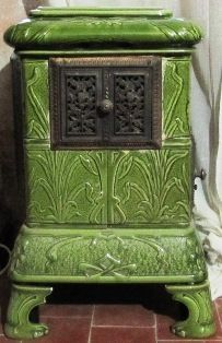 Art Nouveau Ceramic Tile Wood Log Stove in Green @ Antique French Stove Co