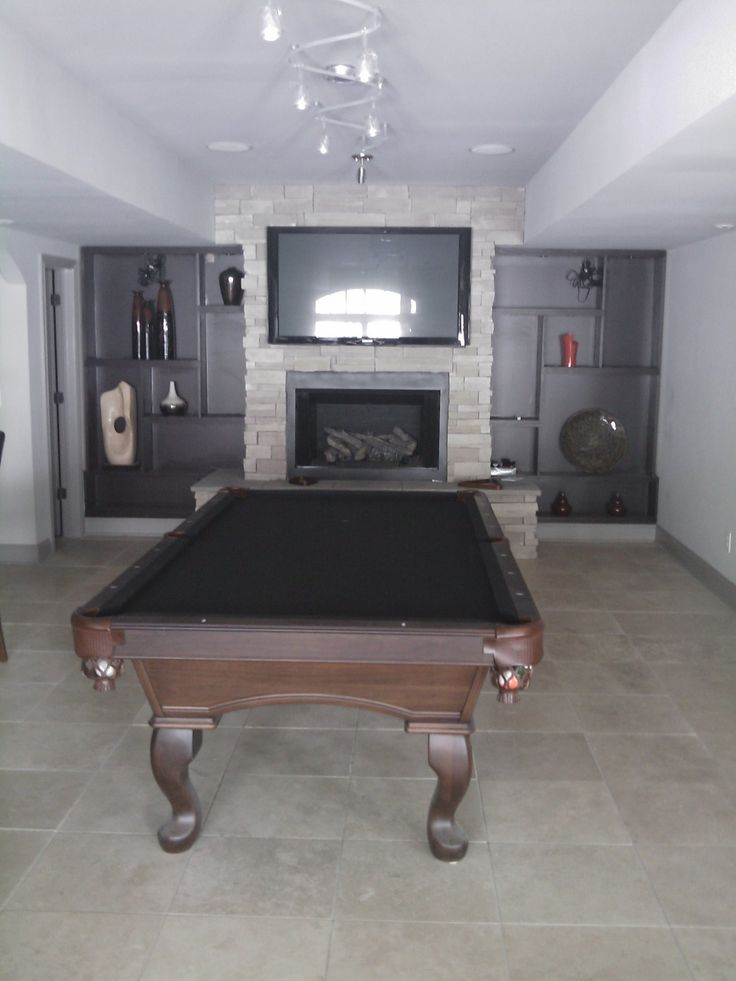 Rec Room Pool Table Stone Fireplace In Basement Krc