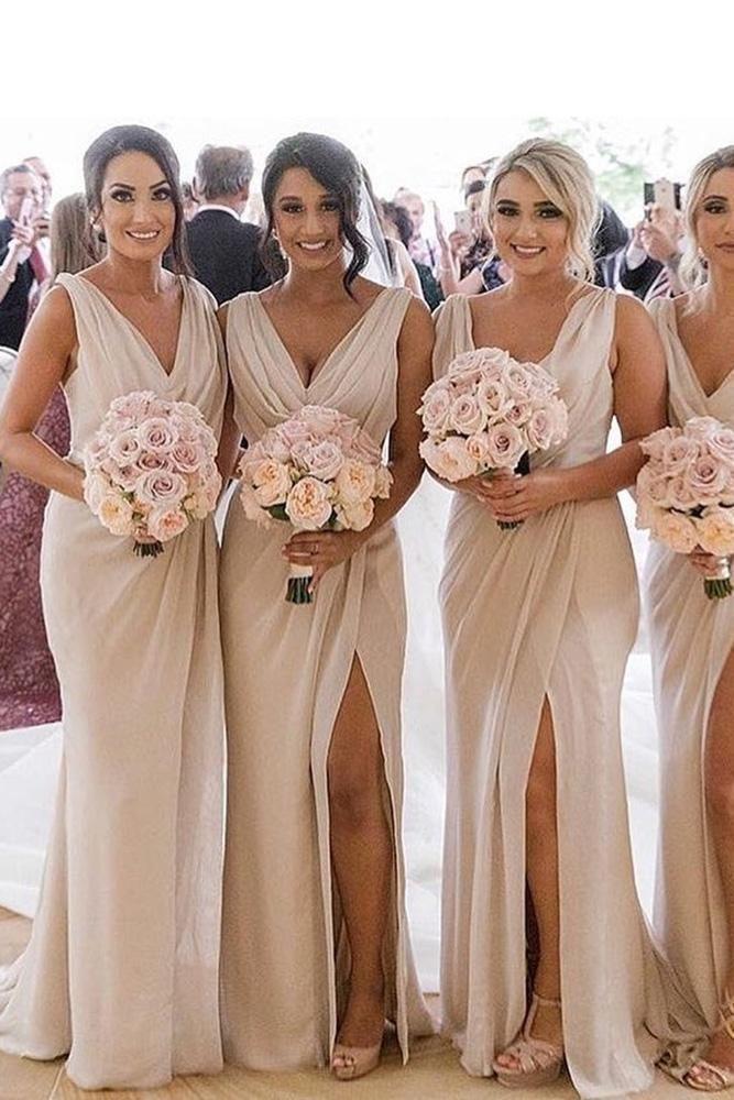 A Line Chiffon V Neck Beige Ruffles Bridesmaid Dresses Long with Slit Prom Dresses JS418