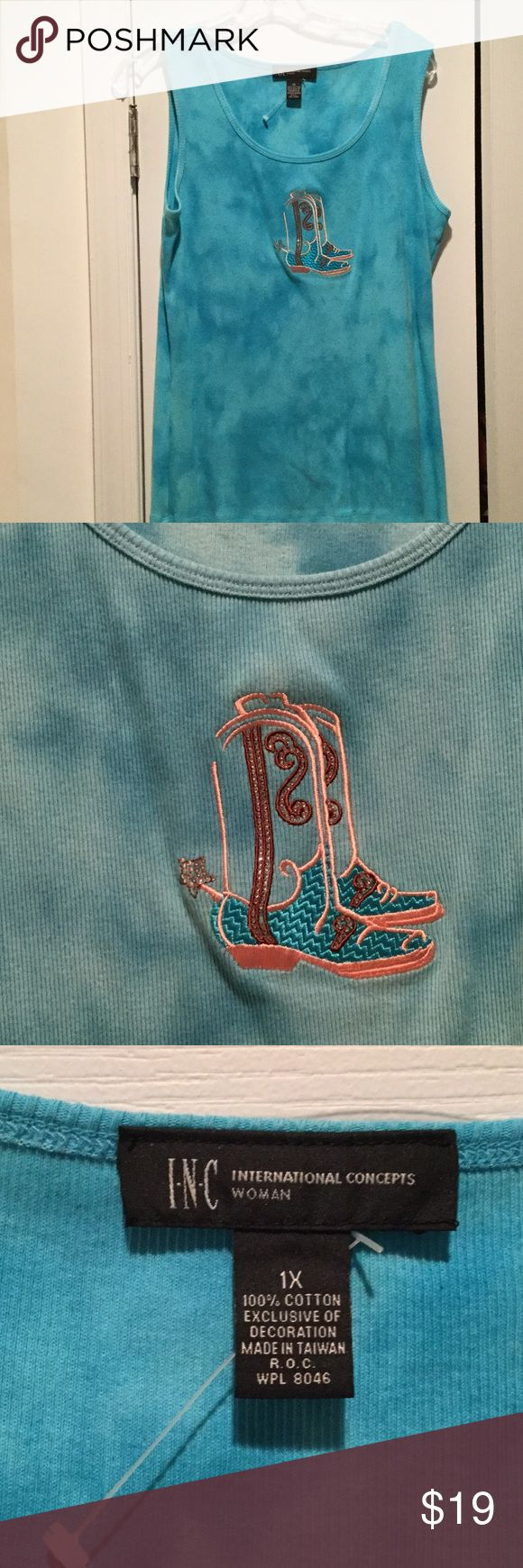 Inc woman's turquoise cowboy embellished tank NWOT Inc woman's 1x turquoise slight subtle variegated color pattern with embroidered cowgirl and sequined boot appliqué. Super cute and a fun layering piece of just a cute tank for summe .  NWOT INC International Concepts Tops Tank Tops