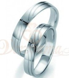 Βέρες γάμου λευκόχρυσες με διαμάντι breuning 7133-7134