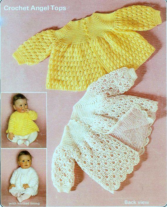 Vintage Crochet Pattern  PDF Baby Angel Top Jacket Cardigan Coat Lace Matinee