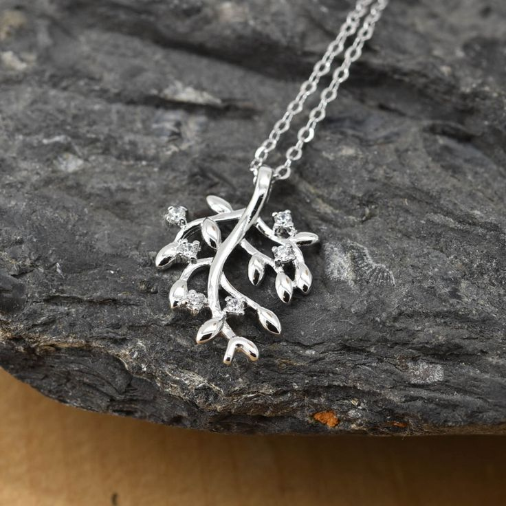 Leaf Necklace, Leaf Pendant, Leaf Jewelry, 925 Sterling Silver, Crystal Necklace Pendant, Bridesmaid Gift,Bridesmaid Necklace by JubileJewel on Etsy