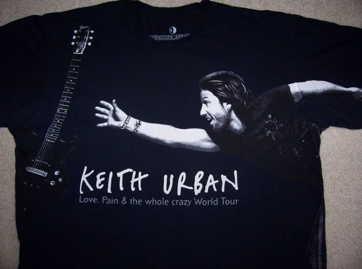 Auth KEITH URBAN Concert shirt Adult L Black Love Pain & Whole Crazy Thing 2007