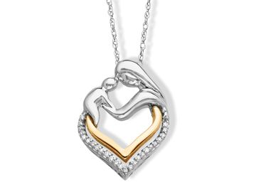 Mother and Child Pendant Necklacewith Diamonds in Sterling Silver and 14K Gold from Jewelry.com $79.00 #Jewelry.com