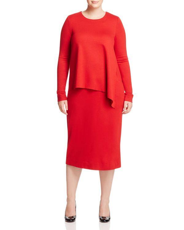 Marina Rinaldi Asymmetric Overlay Jersey Dress