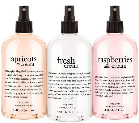 the sweetest dreams are made of fruit and cream. this trio of hydrating, antioxidant-infused body spritzes features luscious scents that will leave you soft, refreshed, and lightly scented.