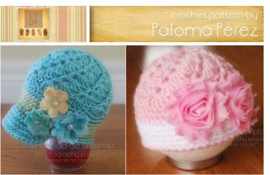 INSTANT DOWNLOAD  Crochet Vintage Swirl Hat Pattern  by palomapch, $4.99