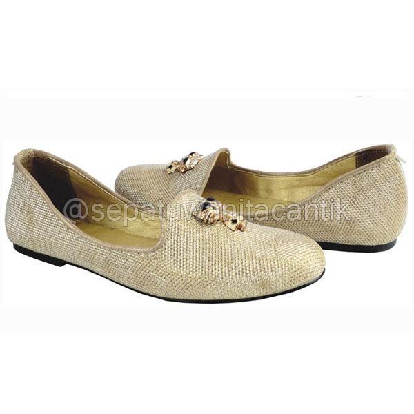 Sepatu Flat Shoes Wanita Cantik/SEpatu Ballet Giardino Gold Terbaru Murah Branded GRNS181