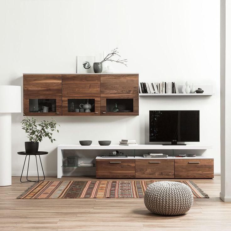 25+ best ideas about hängevitrine weiß on pinterest | mode ... - Wohnzimmer Nussbaum Weis