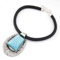 Gümüş Kaplama Gökyüzü Mavisi Vintage Tasma Kolye www.takirafi.com'da sadece 26,95TL
