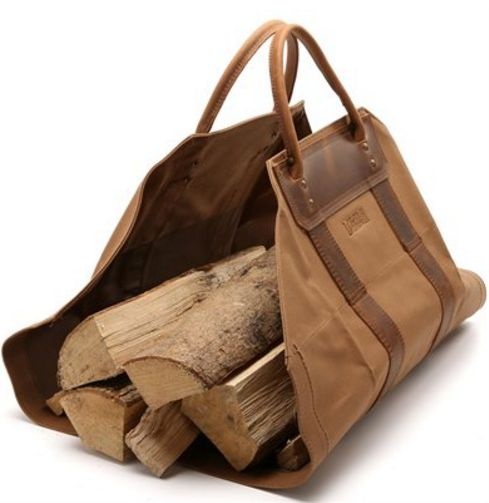 Duluth Trading canvas leather firewood log carrier ; Gardenista