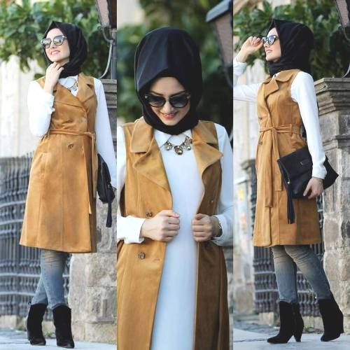 mustard vest hijab style, Elegant hijab street style http://www.justtrendygirls.com/elegant-hijab-street-styles/