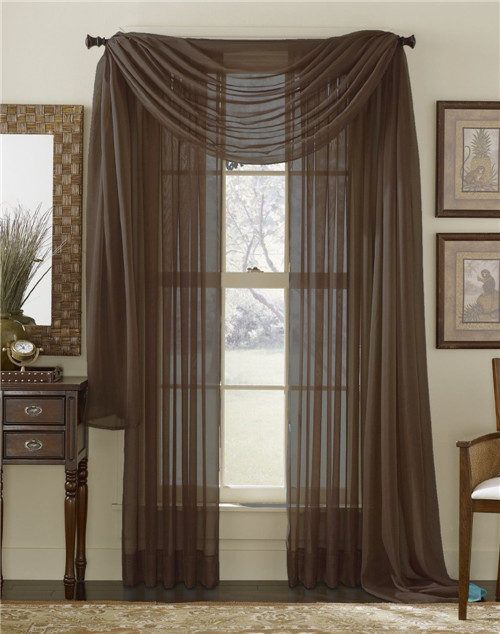 Chocolate Brown Grommet Voile Sheer Curtains Panel 00_Solid Color Voile Sheer Valance Panels www.pluscurtains.com pluscurtains@gamil.com whatsapp:+ 861506814867