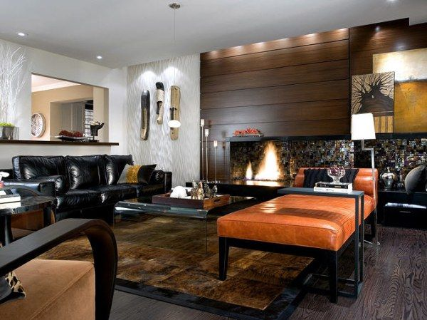 Attrayant Black, Brown, White And Orange Living Room With Wonderful Lighting Design