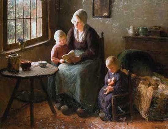 """Reading lesson"". Bernard Pothast (1882-1966), Dutch painter."