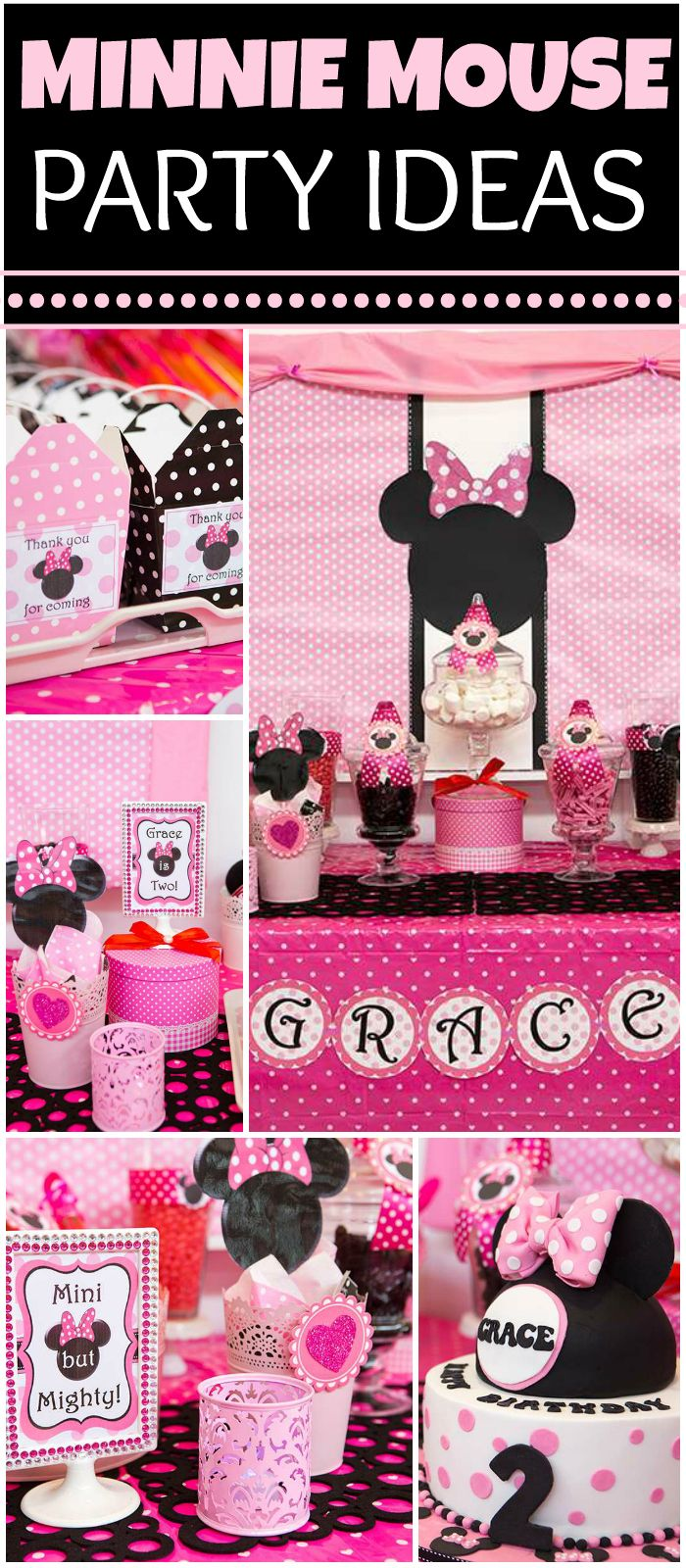 Here's a pink Minnie Mouse party with an amazing dessert table! See more party ideas at CatchMyParty.com!