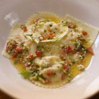 Lobster ravioli with butter and caper sauce by Michela Chiappa from Simply Italian.