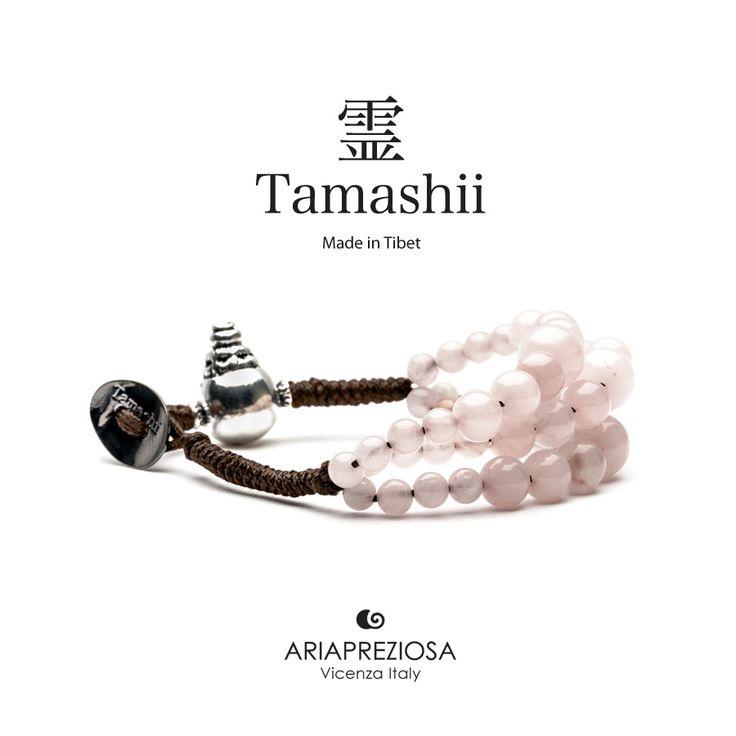 Bracciale Tamashii Dul Ba originale realizzato con pietre naturali QUARZO ROSA.  Composto da 3 file di pietre, simboleggia la disciplina, che nel buddismo assume l'accezione di equilibrio.