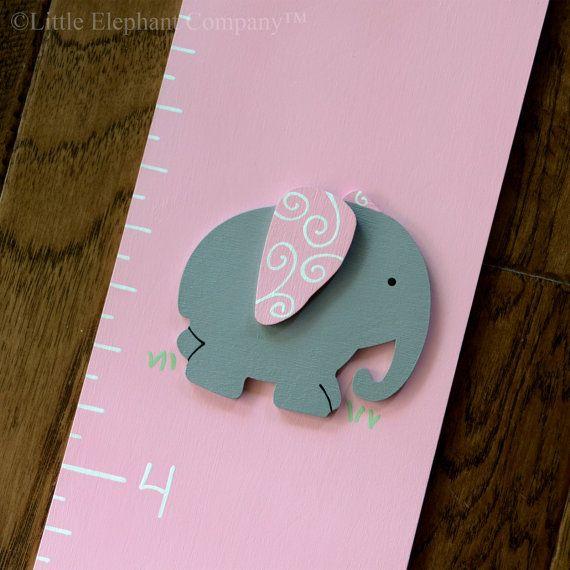 Ella gli elefanti, rosa e grigio in legno crescita grafico, dipinto a mano, copertura di unghie gratis e personalizzazione